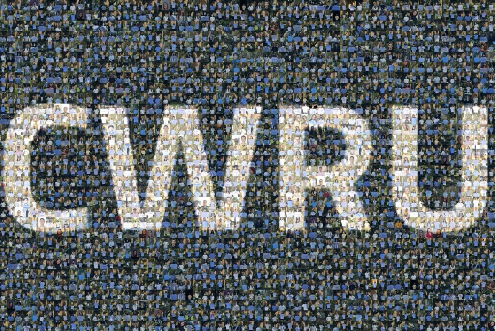 A mosaic of student photos spells out the letters C-W-R-U